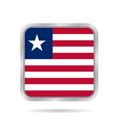 Flag of liberia metallic gray square button vector