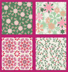 floral set pattern summer vector image