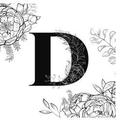 flower alphabet letter d pattern vector image