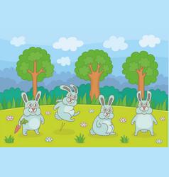 funny rabbits vector image