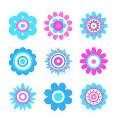Geometric shape flowers made of simple circles vector
