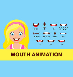 Girl mouth animation with different expressions vector