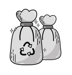 grayscale garbage trash bags with recycle symbol vector image