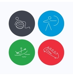 Gymnastics boating and archery icons vector