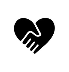 handshake forms the heart icon image and vector image