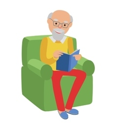 Happy senior man sitting on the sofa read book and vector image