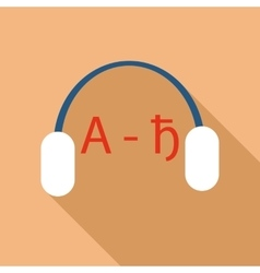 Headphones for language learning icon flat style vector image