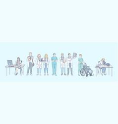 healthcare research medicine doctor set concept vector image