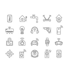 iot line icons internet things wireless vector image