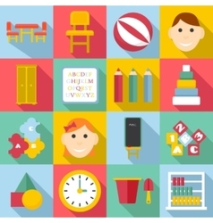 Kindergarten icons set flat style vector