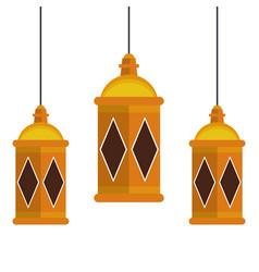 Lanterns decoration festival lamps cartoon vector