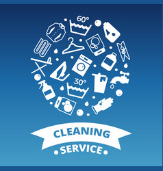 Laundry cleaing service icons round concept vector