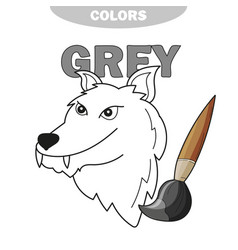 learn color gray - wolf - coloring book vector image