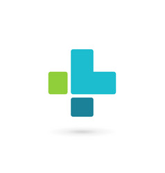 letter l cross plus medical logo icon design vector image