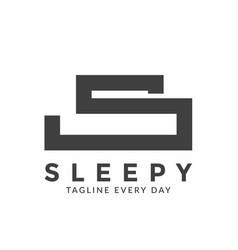 Letter s bed logo design template vector