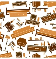 Living room flat furnitures seamless pattern vector image