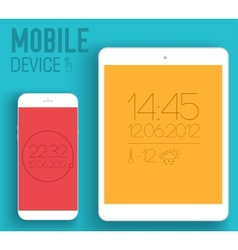 Mobile electronic devices on flat style concept vector