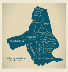 Modern city map - ludwigshafen city of germany vector