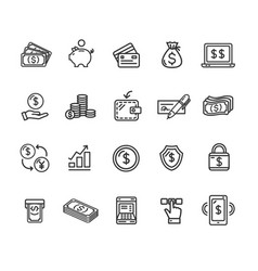 money finance symbols and signs black thin line vector image