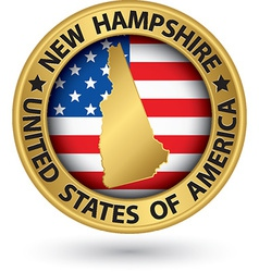New Hampshire state gold label with state map vector