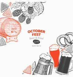 octoberfest banner hand drawn greeting beer vector image