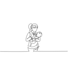 One single line drawing young mother carrying vector