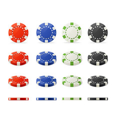 poker chips set vector image