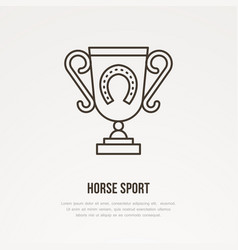 Polo champion trophy linear icon golden cup with vector
