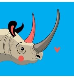 Portrait enamored rhino vector