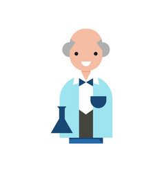 Scientist character professor wearing a lab coat vector