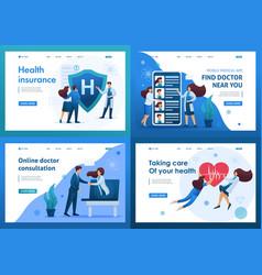 Set 2d flat concepts work doctors vector
