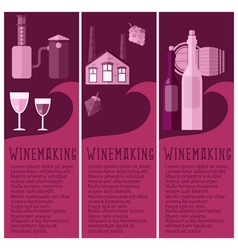 Set of banner for winemaking industry with vector