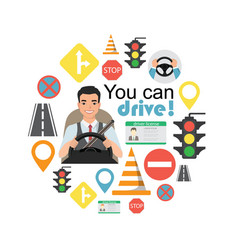 set of road symbols and asian man driver character vector image