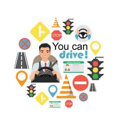 set of road symbols and asian man driver character vector image