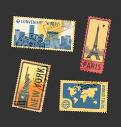 set postage stamps vector image