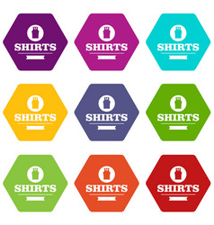 shirt icons set 9 vector image