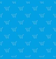 shopping cart pattern seamless blue vector image
