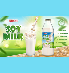 soy milk bottle and glass with splash isolated vector image