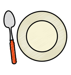 spoon and dish cutlery isolated icon vector image
