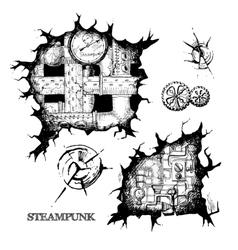 Steampunk sketch holes vector