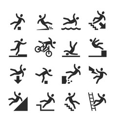 Stick figure man falling beware hazard warning vector