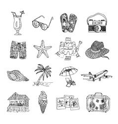 Summer vacation doodle sketch isons set vector