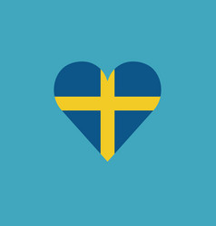 Sweden flag icon in a heart shape in flat design vector