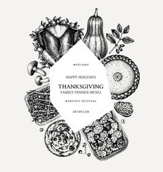 Thanksgiving day dinner wreath design vector