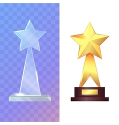 Trophys Two Awards Glass and Golden Rewards vector image