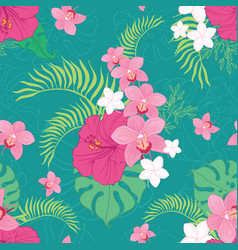 Tropical orchid and hibiscus flowers pattern vector