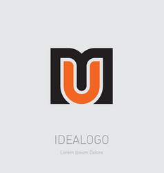 um - design element or icon m and u initials logo vector image