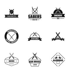 Weapon logo set simple style vector