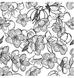 white gray black cherry flowers vector image