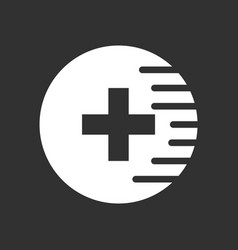 White icon on black background medical cross vector